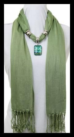 New Item Just added- Dichroic Glass Embellished Scarf -Wheat Grass Green - Thiswheat grass green scarf is embellished with a Dichroic Glass pendant of complimentary colors and silver beads that can be moved around for just the right look for you. $34.95 FREE SHIPPING