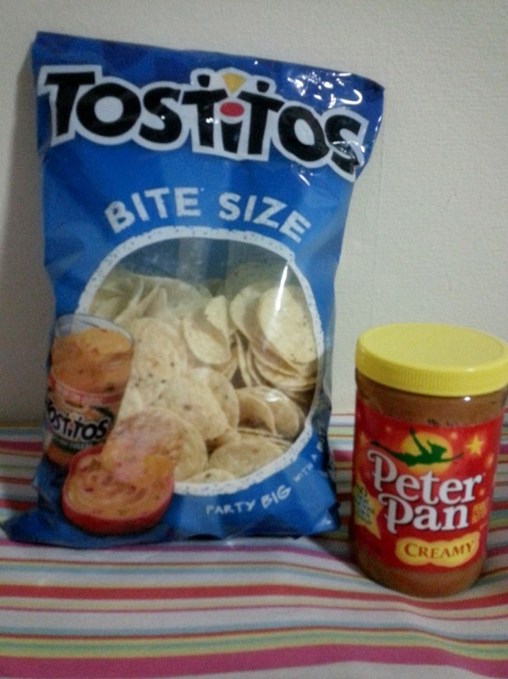 Tostitos chips and peanut butter are a simple gluten free snack. Not particularly healthy, but it won't make you sick.