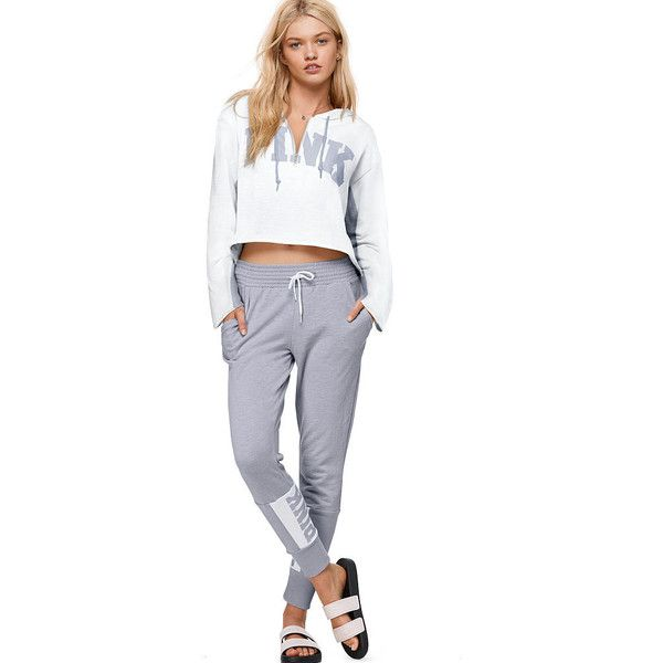 PINK Skinny Jogger ($50) ❤ liked on Polyvore featuring activewear, activewear pants, pink sportswear, pink jersey and white jersey
