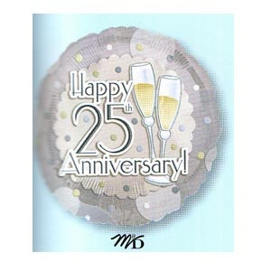 "25th Anniversary Toast 18"" Mylar Balloon"