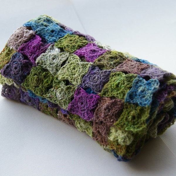 Crochet Multiple Colors : Crocheted flowers scarf in multi colors green brown purple blue. Noro.