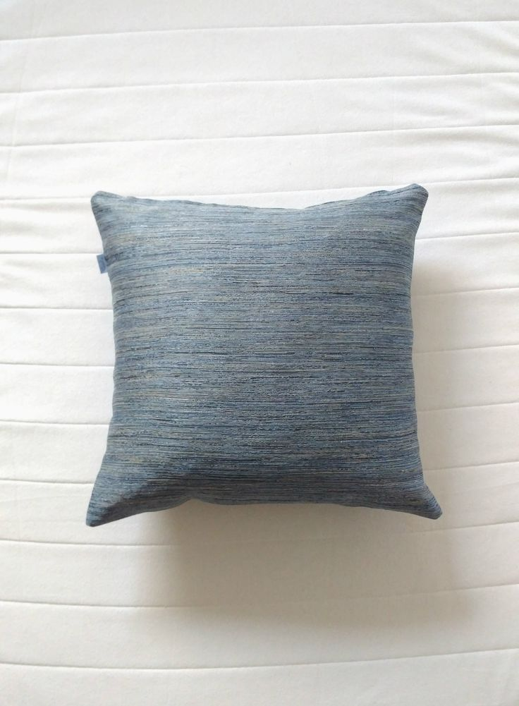 Blue textured stripes pillow. Scandinavian handmade ethical throw pillow covers. Modern muted colours home decor. Limited editions only. Shipping worldwide!   Support small businesses and say no to mass production!