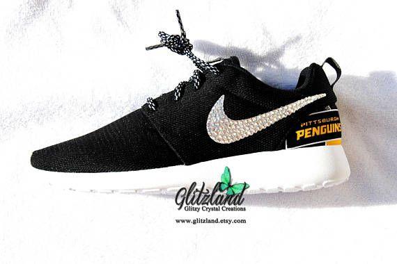 Swarovski Nike black Roshe Run w/ NHL Pittsburgh Penguins Print Heel Blinged with SWAROVSKI® Crystals