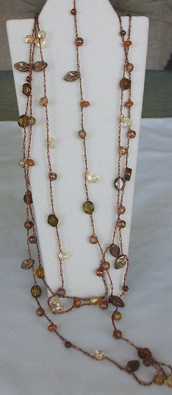 Brown Crocheted Long Necklace or Lariat by beadedblisscreations, $30.00