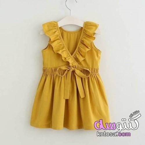 أجمل ملابس أطفال بنات صيفية للعيد 2019 Girls Dresses Summer Kids Dress Girls Yellow Dress