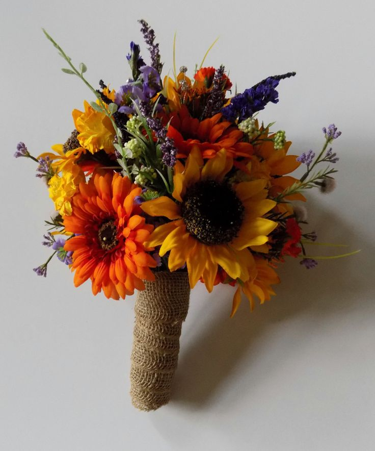 Wildflower Wedding Bouquet, Sunflower Bridal Bouquet, Bridesmaids Bouquet, Bout included with Bouquet, Fall Wedding Bouquet, Custom Order.
