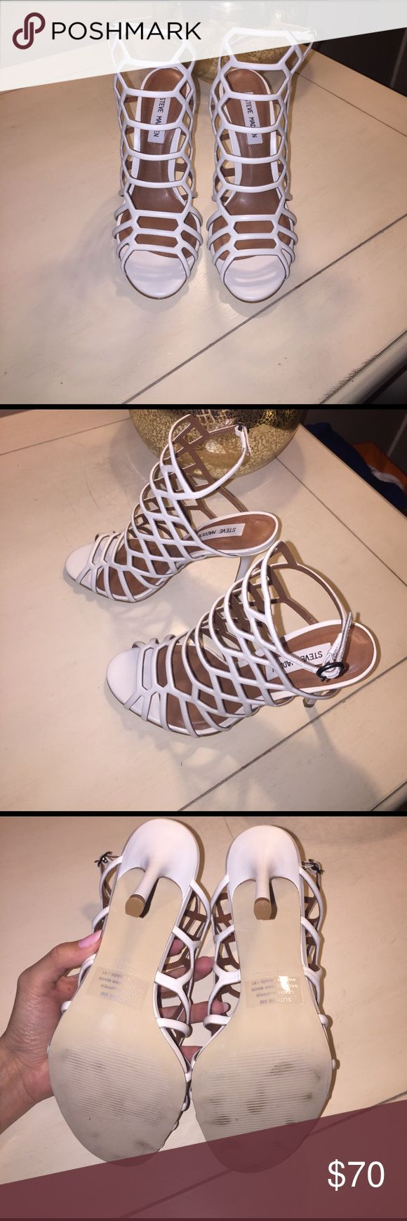 Steve Madden Heels Steve Madden white sandals, never worn, couple scuffs on the bottom of the shoes from trying them on in the store, otherwise perfect condition. No box. Steve Madden Shoes Heels