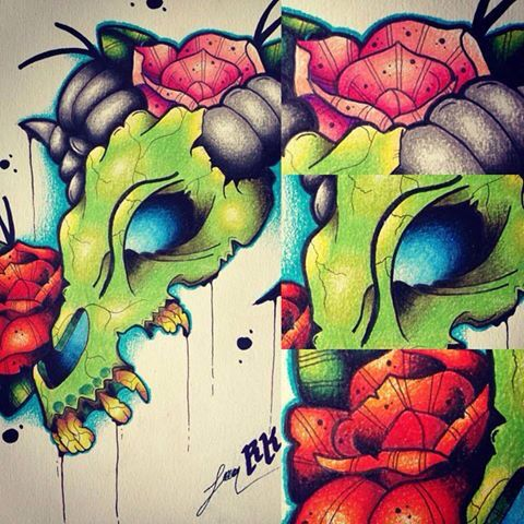 Skull animal and roses