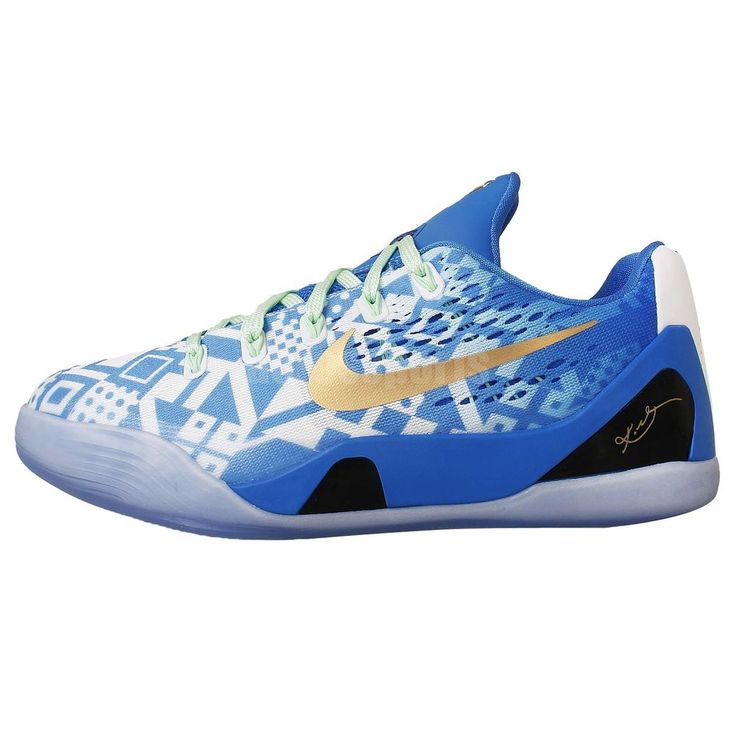 Nike Kobe IX EM GS 9 Blue White 2014 Youth Boys Basketball Shoes Bryant Lakers #NIKE #BasketballShoes