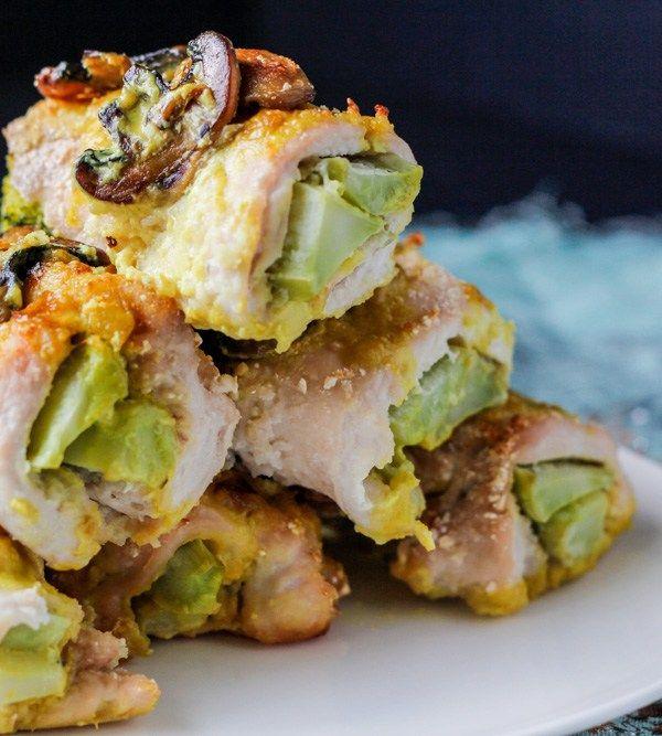 Coconut milk sauce smothers turmeric broccoli chicken roll ups