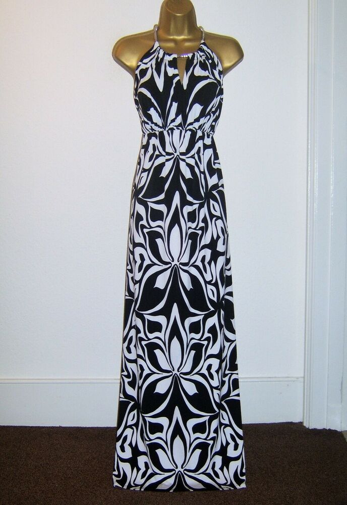 Wallis Fab Black White Summer Maxi Evening Party Dress Size 12 14 Fashion Clothing Shoes Accessories Womens Evening Party Dress Dresses Size 12 Maxi Dress