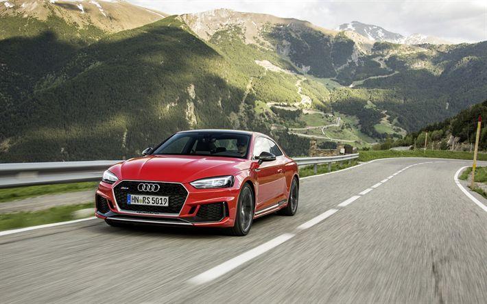 Descargar fondos de pantalla Audi RS5 Coupé, 4k, montañas, carretera de 2018, los coches, estados UNIDOS, coches alemanes, rojo RS5, Audi