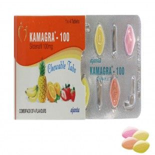 Kamagra's Chewable Tabs's active ingredient sildenafil citrate helps relax muscles and increases blood flow to erectile tissues and blood vessels present in the penis thus assisting with ed treatment (erectile dysfunction) and male enhancement. Sildenafil is a Phosphodiesterase Type 5 Enzyme Inhibitor (PDE-5) that reduces and stops the activity of this enzyme which leads to firm penis erection, higher sexual performance and satisfaction.