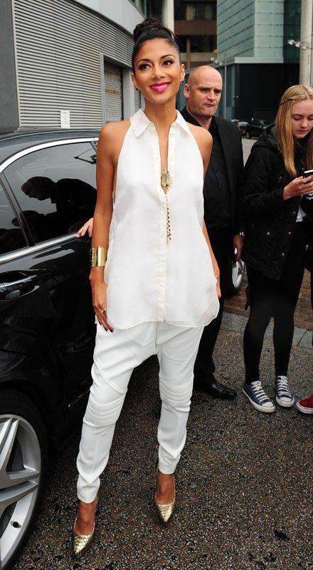 Nicole Scherzinger in Bill Blass's White Harem Pants