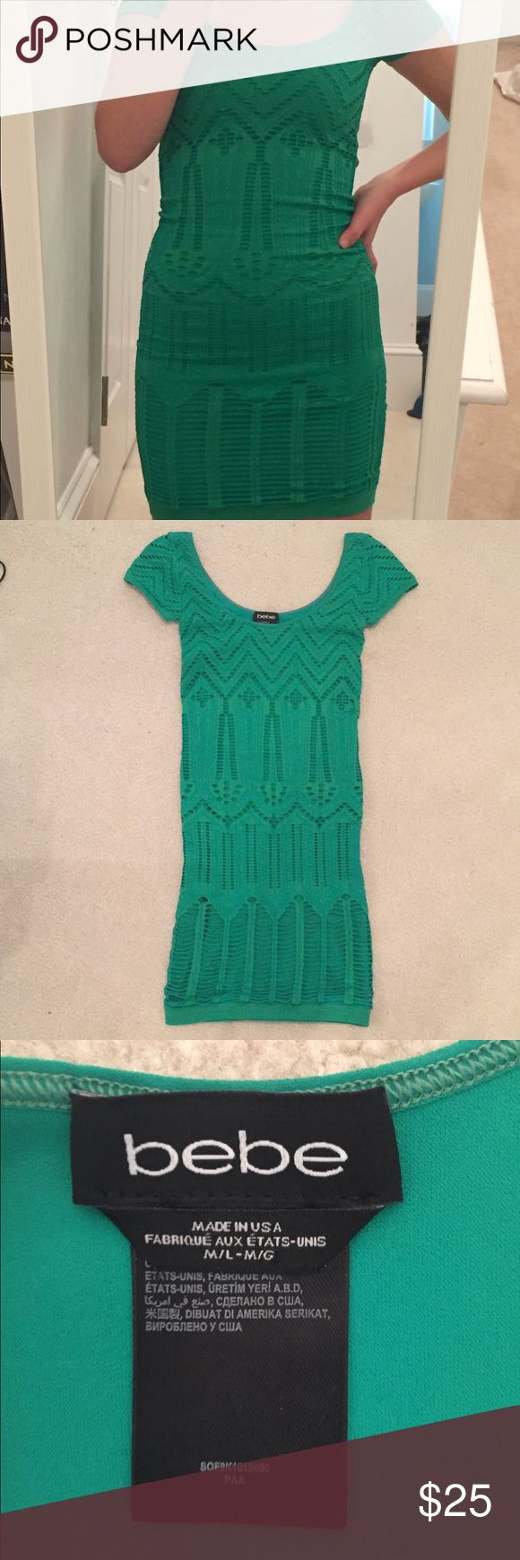 Bebe Green Bodycon Dress Emerald green bodycon dress. Comfortable, worn once, and in great condition. Great for a night out or pair with a nice blazer! Size on tag is Medium, but fits tightly like a Small bebe Dresses Mini