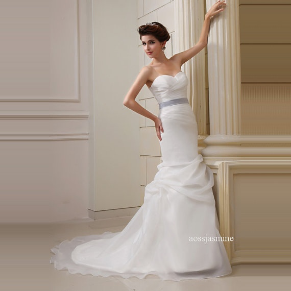 Elegant mermaid sweetheart sashes organza by jasminewedddingdress, $259.00