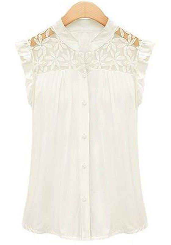 White Lace Ruffles Cap Short Sleeve Chiffon Blouse $23 + free shipping