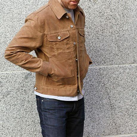 Gustin Trucker Jacket Waxed Brown Waxed Canvas Jacket