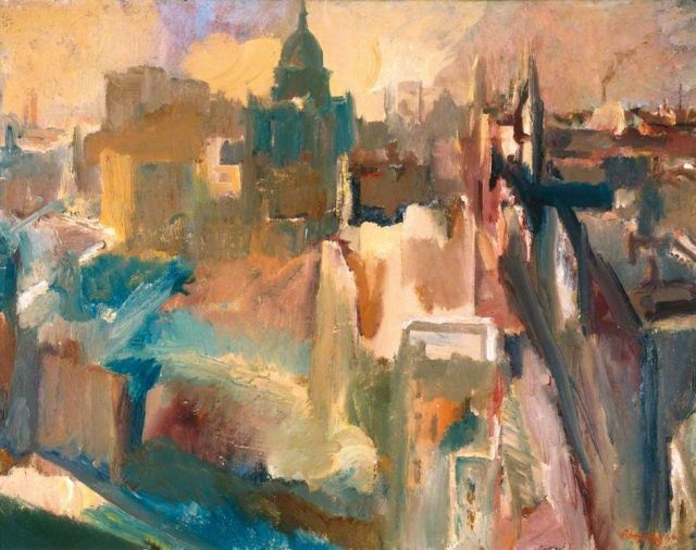 """British painter David Bomberg, """"Evening in the City of London"""" has been described as the 'most moving of all paintings of wartime Britain.' Andrew Graham Dixon writes: """"Bomberg was struck by the seemingly miraculous way in which Christopher Wren's great cathedral of St Paul's had survived the incessant bombing attacks of the Nazis. He took care to show the cathedral from a distance, framed by the desolation around it."""""""