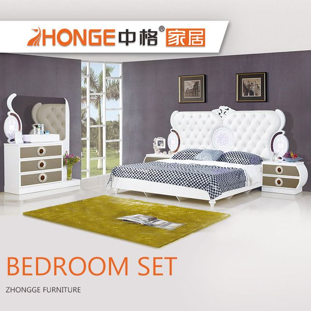 Source King size bed MDF french style high gloss white modern wood ...