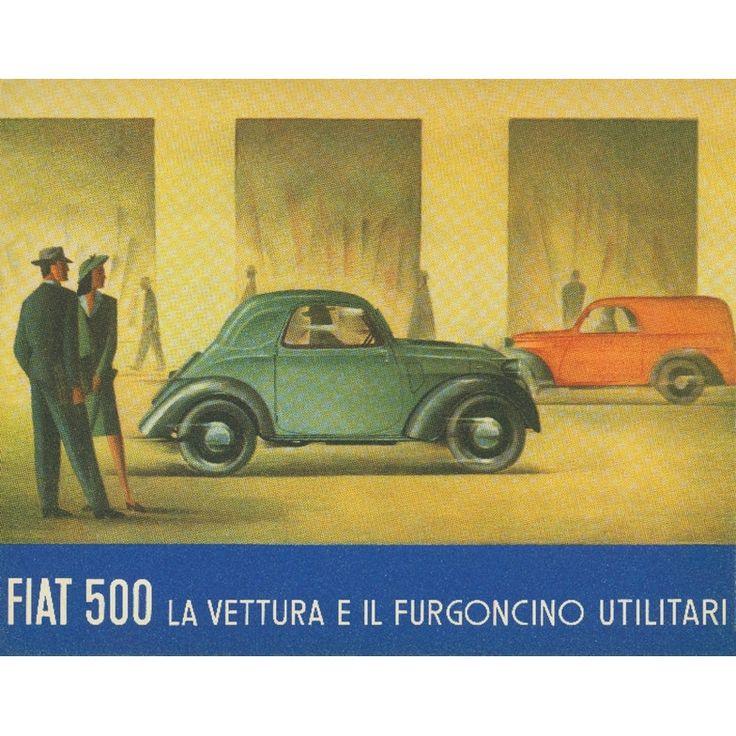 Italy - Fiat 500 - La Vettura green Vintage Ad (Acrylic Wall Clock) (Plastic)