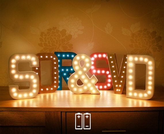 battery single marquee letter lights with warm white leds and battery power supply 20cm - Marquee Letter Lights