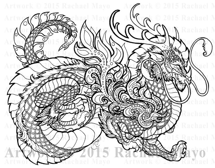 59 Best Coloring Pages/ LineArt Dragons Images On