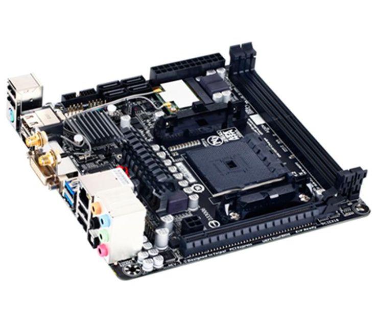 Gigabyte F2A88XNWIFI FM2+ Mini ITX  EUR 113,74 -Soporte para módulos de memoria DDR3 2400(OC)/2133/1866/1600/1333 MHz -1.2 x socket DIMM DDR3 a 1,5V con capacidad para 64GB de memoria del sistema -APU con gráficos integrados AMD Radeon™ HD series 8000/7000 -PCI Express 3.0.