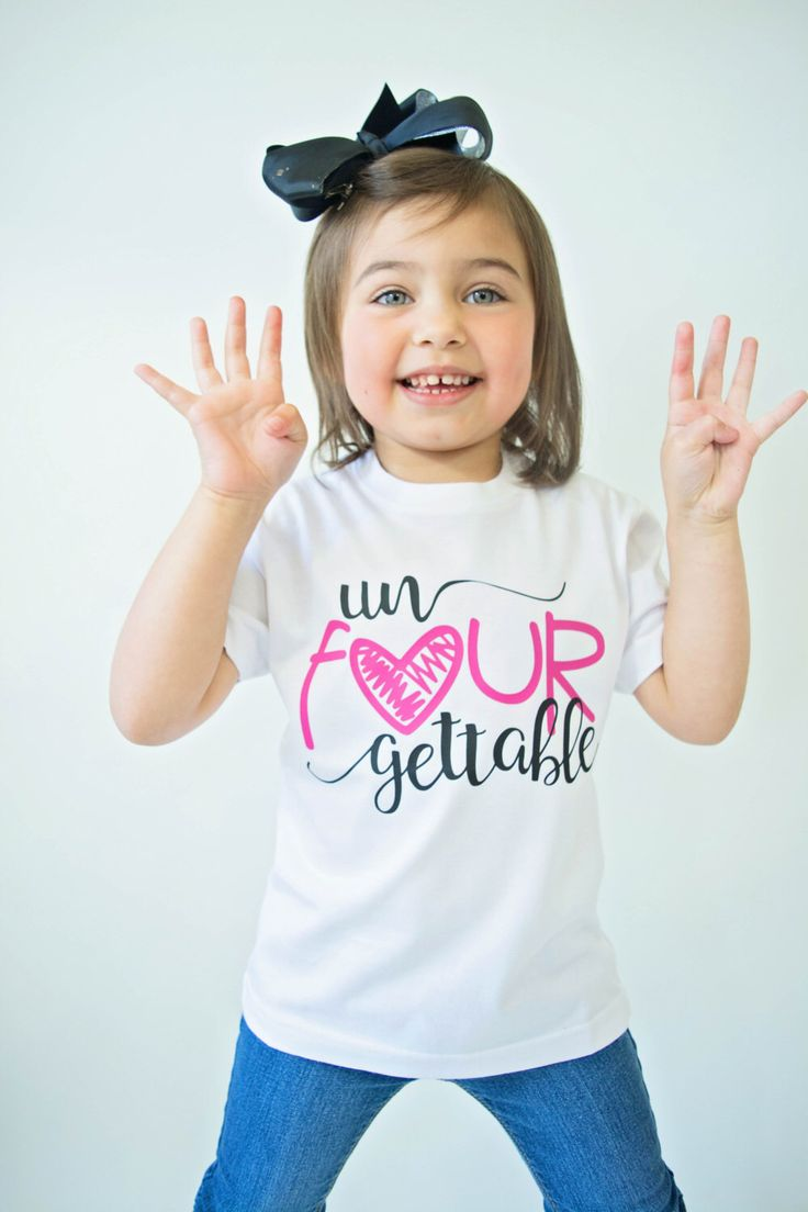 Excited to share the latest addition to my #etsy shop: Un Fourgettable Birthday Top - Birthday Shirt - Birthday Girl - 4th Birthday Shirt - Four Year Old - Birthday Gift- 4th Birthday Outfit