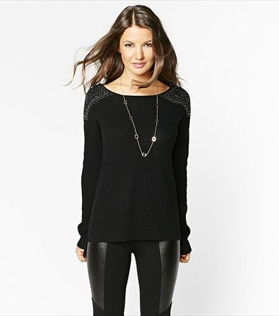 Add glitz to your wardrobe with this embellished textured sweater.