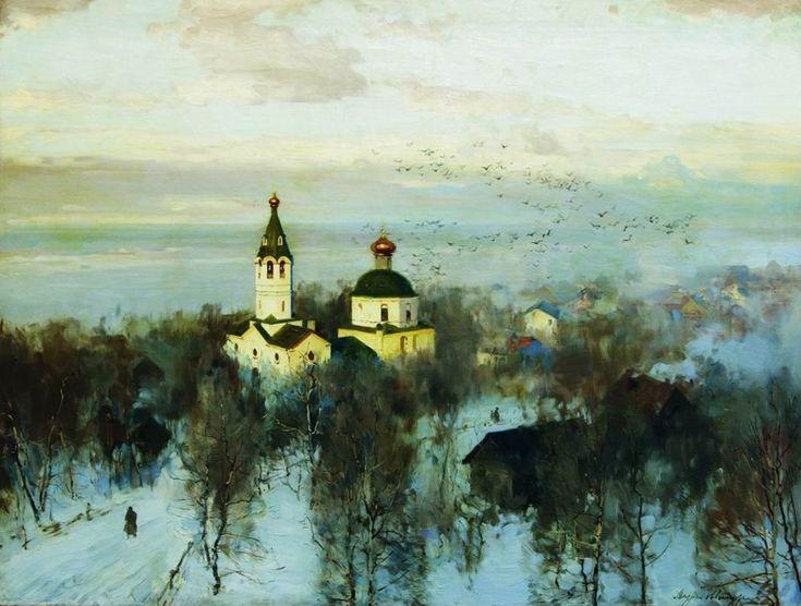 Живопись маслом Andrei Shilder (1861-1919), Paysage avec une Eglise - 1914