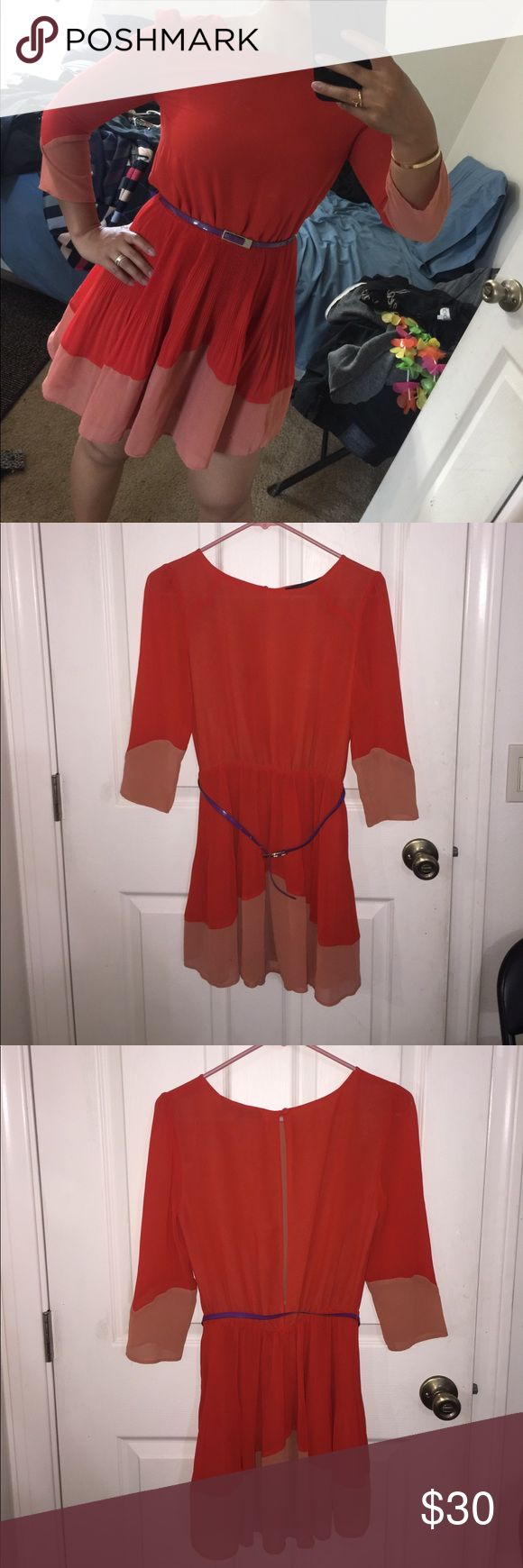 Worn Topshop Petite orange dress with belt Worn Topshop Petite orange dress with purple belt. The belt is a little beat up but you can wear it without a belt or with your own belt. Feel free to make me an offer! Topshop PETITE Dresses Mini