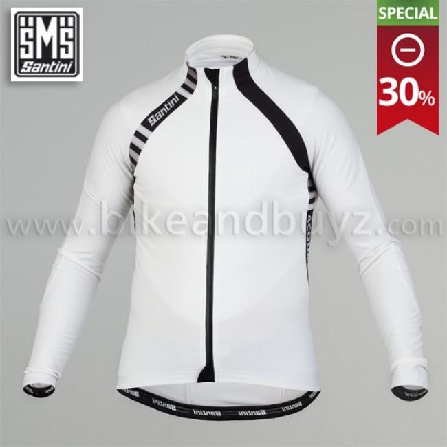 Maglia ciclismo manica lunga Santini Feel con trattamento Acquazero bianco. Santini Feel Acquazero long sleeve jersey white    #ciclismo #cycling #jersey #santini