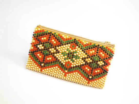Rare Vintage Women's Wallet beads 1960s Beaded Wallet