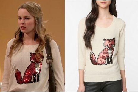"Charlie Duncan (Bridgit Mendler) wears an Urban Outfitters Cooperative Cute Embellished Front Sweater in the color Cream in Good Luck Charlie Season 3 Episode 1 ""Make Room for Baby."" #goodluckcharlie #disney #teddyduncan"