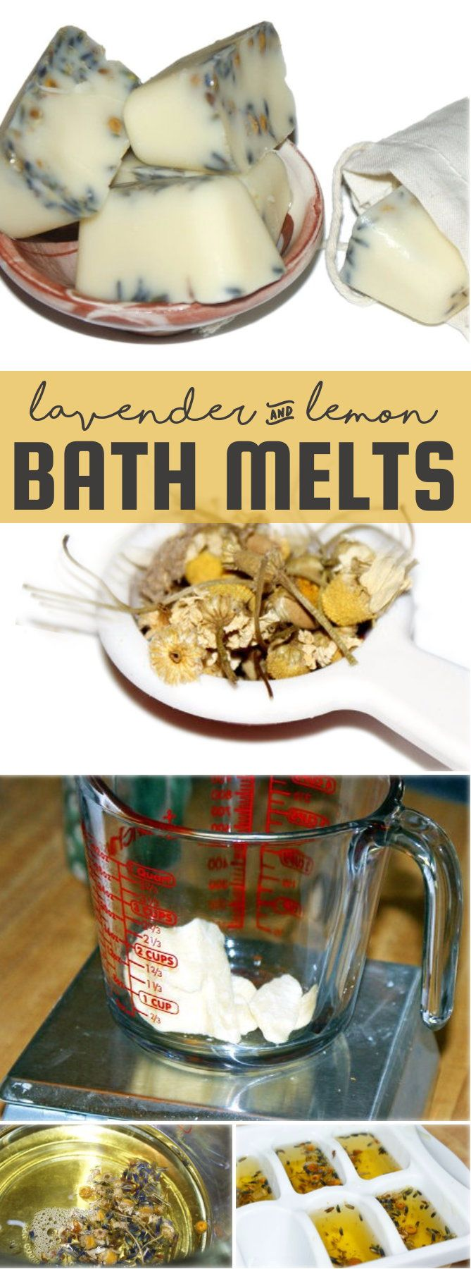 This simple organic lemon lavender bath melts recipe is crafted using organic ingredients and is great for moisturizing skin and lifting your spirits.