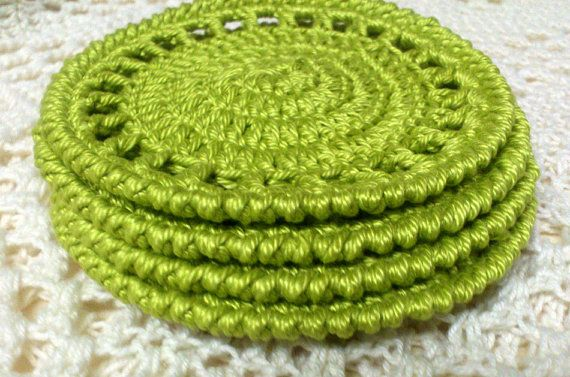 Round Cotton Crochet Coasters, set 4