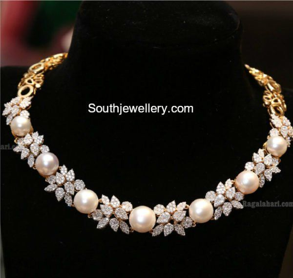 Diamond South Sea Pearl Necklace photo