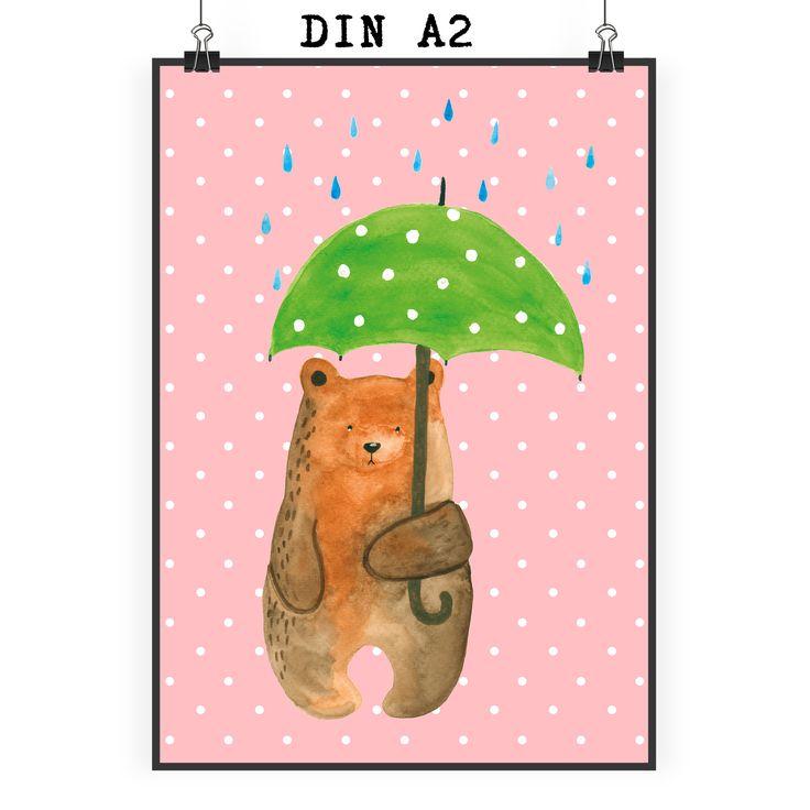 """Poster DIN A2 Bär mit Regenschirm aus Papier 160 Gramm  weiß - Das Original von Mr. & Mrs. Panda.  Jedes wunderschöne Motiv auf unseren Postern aus dem Hause Mr. & Mrs. Panda wird mit viel Liebe von Mrs. Panda handgezeichnet und entworfen.  Unsere Poster werden mit sehr hochwertigen Tinten gedruckt und sind 40 Jahre UV-Lichtbeständig und auch für Kinderzimmer absolut unbedenklich. Dein Poster wird sicher verpackt per Post geliefert.    Über unser Motiv Bär mit Regenschirm  """"Ich lasse dich…"""