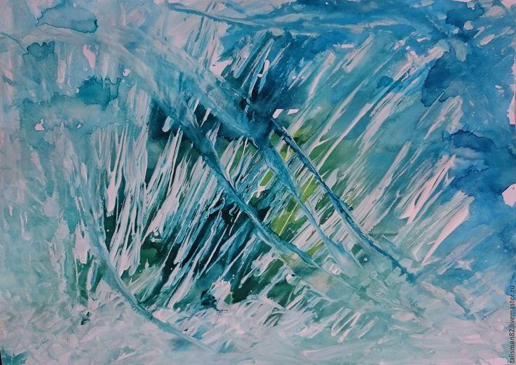 """Купить Картина """"Прорыв"""", авторская абстракция - бирюзовый, голубой, зеленый…"""