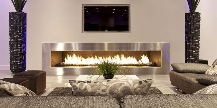 Adorable Modern Living Room Interior with Horizontal Fireplace Wall and Television Wall