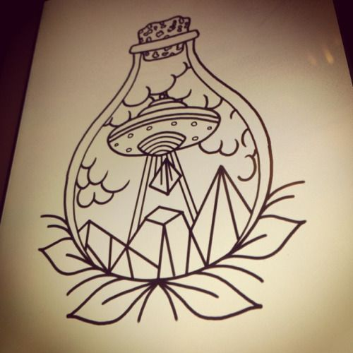Up for grabs #tattoo #flash #trad #traditional #ufo #bottle