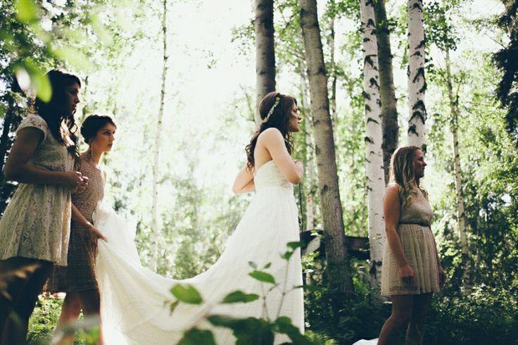 Bride and bridesmaids in birch forest - Alaska, Wedding Ceremony: Tonja & Josh | Photo by Carly Morgan | #Travel #Alaska #Wedding