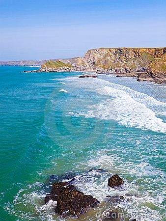 View along the Cornish Coast from Trevelgue Head near Newquay Cornwall England UK