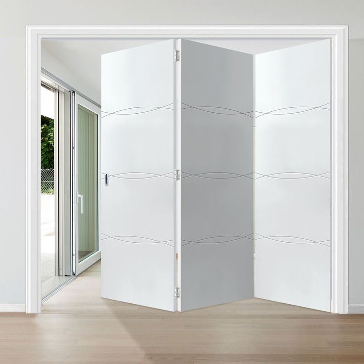 Thrufold Aster White 3+0 Folding Door. #aster #whitedoors #moderndoors #foldingdoors #thrufolddoors #bifolddoors #roomfolddoors #thrufold
