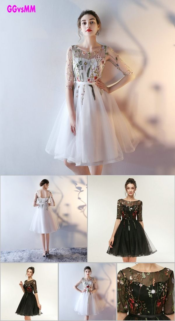 6eea8248308d Fast Shipping Cheap Women Ivory Short Prom Dresses 2018 Sexy Black Prom  Dress Scoop Tulle Embroidery