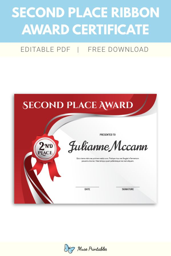 Free printable second place ribbon award certificate ...