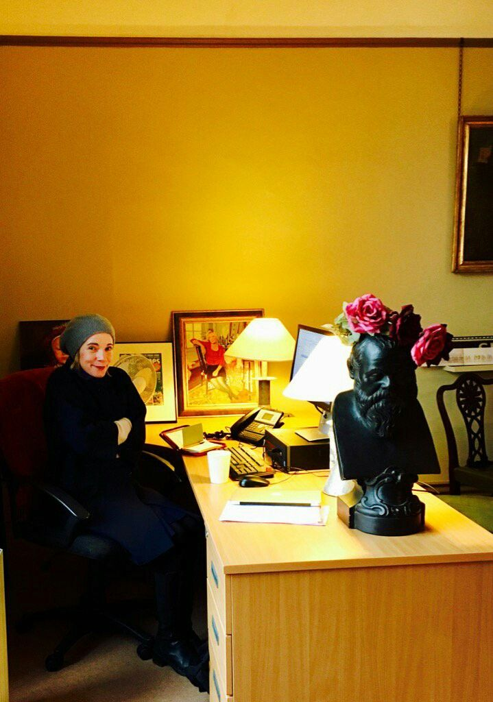 The Lovely Lucy Worsley in the nerve centre of her evil empire.