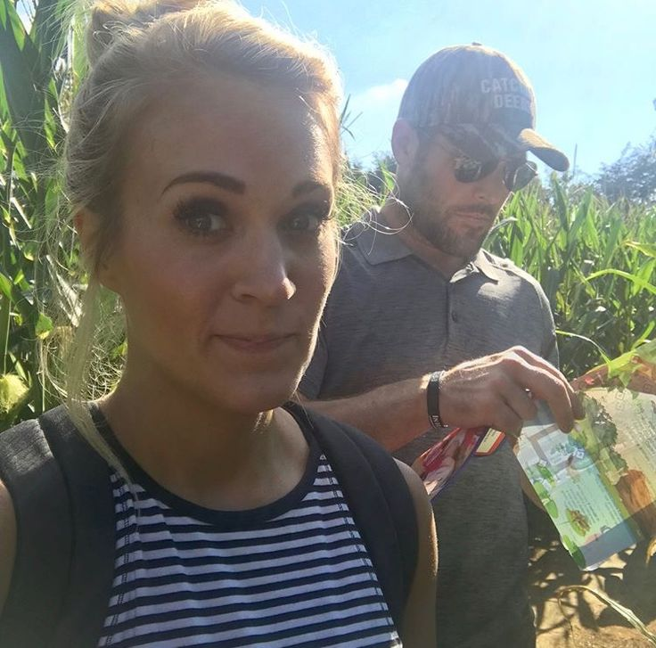 Carrie Underwood and her husband Mike Fisher at a corn maze. Photo Credit:@carrieunderwood