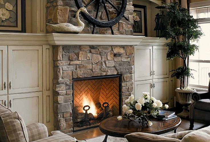 stacked stone fireplace surround with modern design